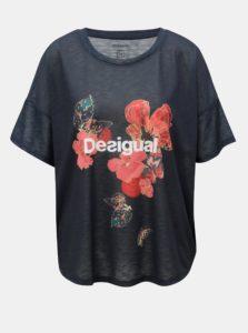 Tmavomodré vzorované tričko Desigual
