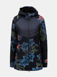 Tmavomodrá vzorovaná softshellová bunda s prešívanými detailmi Desigual