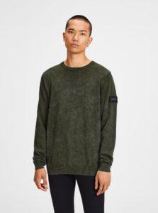 Kaki melírovaný tenký sveter Jack & Jones Knit