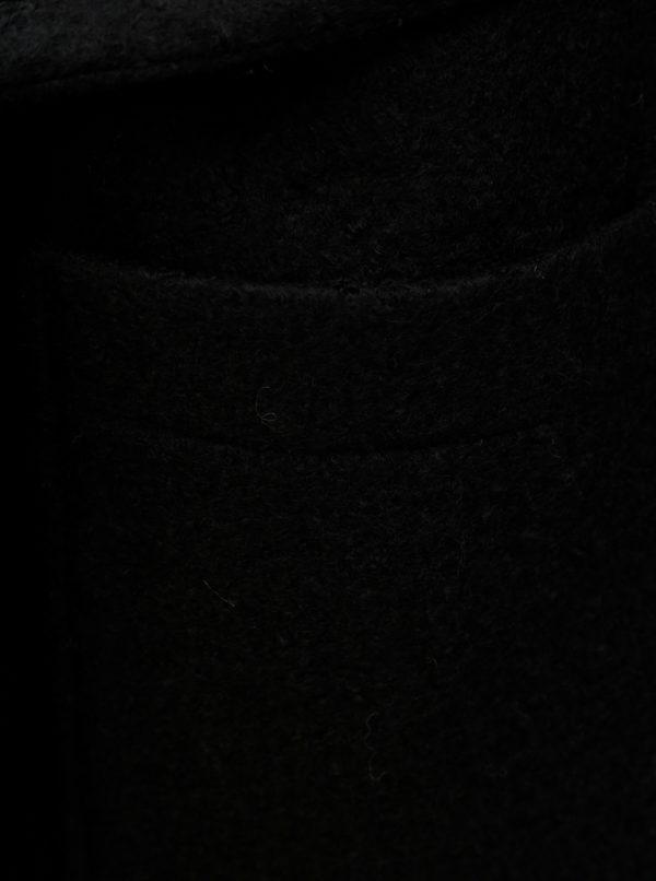 Čierny vlnený kabát s vreckami a opaskom Noisy May Zoe