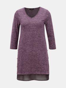 Fialový tenký dlhý sveter s detailmi na bokoch Yest