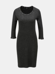 Tmavosivé svetrové šaty s ozdobným šnurovaním Yest