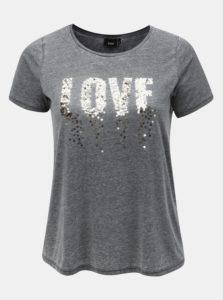 Sivé melírované tričko s flitrami Zizzi Yes