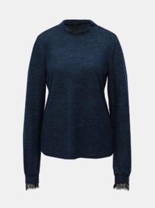 Modrý melírovaný sveter s čipkovými detailmi a stojačikom VERO MODA Penny