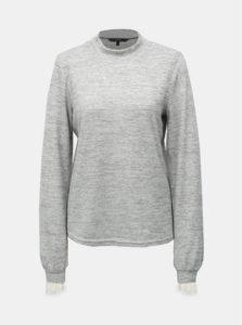 Sivý melírovaný sveter s čipkovými detailmi a stojačikom VERO MODA Penny