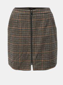 Hnedá vzorovaná sukňa na zips s prímesou vlny VERO MODA Jana