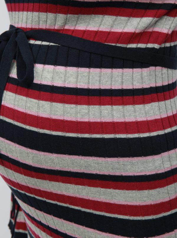 Ružovo-sivé tehotenské svetrové šaty s opaskom Mama.licious Blossom