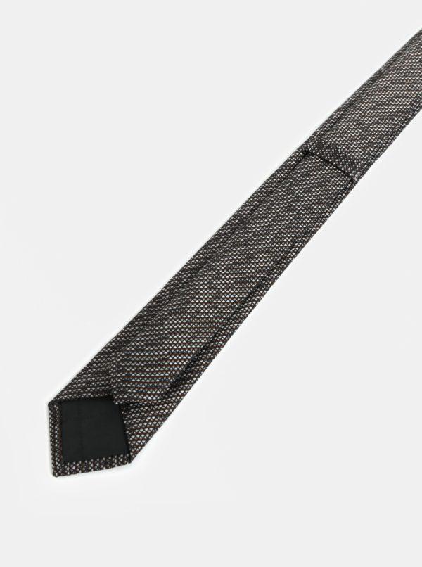 Hnedo-sivá vzorovaná slim kravata Selected Homme Valdemar