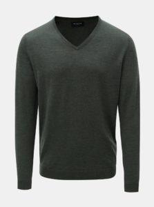 Zelený vlnený tenký sveter s véčkovým výstrihom Selected Homme