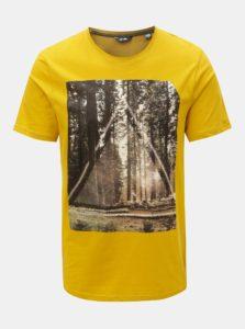 Horčicové tričko s potlačou ONLY & SONS Gideon