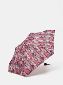Fialovo-vínový skladací vzorovaný dáždnik Rainy Seasons