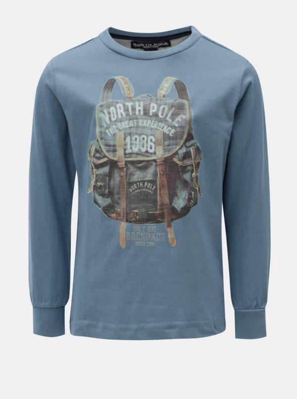 Modré chlapčenské tričko s potlačou North Pole kids