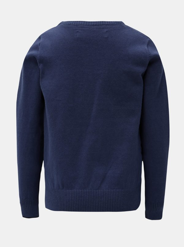 Tmavomodrý sveter s drobnou výšivkou North Pole Kids