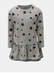 Sivé mikinové šaty s potlačou Name it Veta