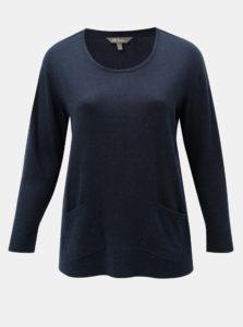 Tmavomodrý tenký sveter s vreckami Ulla Popken