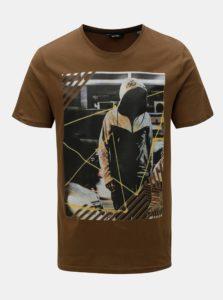 Hnedé tričko s potlačou ONLY & SONS Gideon