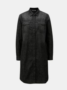 Čierne rifľové melírované košeľové šaty Lee