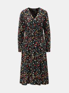 Čierne vzorované košeľové šaty s opaskom Yerse