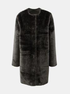 Sivý metalický obojstranný kabát s umelou kožušinou Yerse
