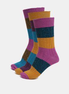 Súprava troch pánskych pruhovaných ponožiek v oranžovo-modrej farbe Oddsocks Danny