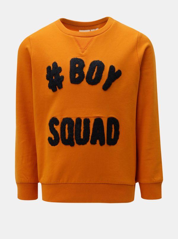 Oranžová chlapčenská mikina s výšivkou Name it Anok