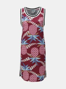 72b8d36a839f Modro-vínové vzorované šaty adidas Originals