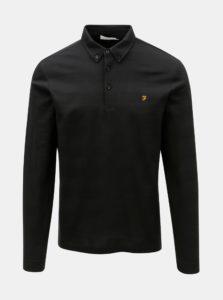 Čierne pruhované polo tričko s dlhým rukávom Farah Stapleton