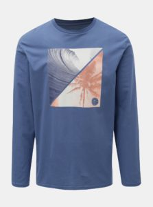 6a7a3e3c5904 Modré pánske regular fit tričko s dlhým rukávom a potlačou Quiksilver