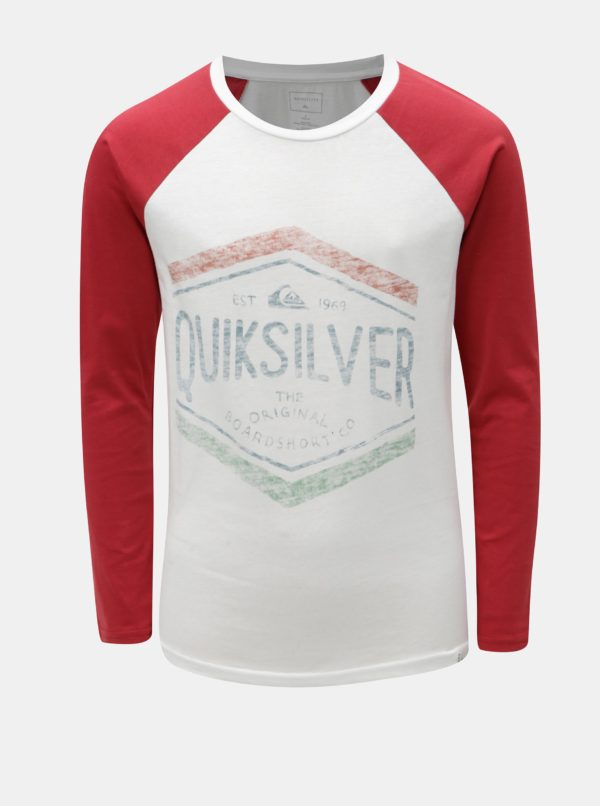 Červeno-biele chlapčenské regular fit tričko s potlačou Quiksilver