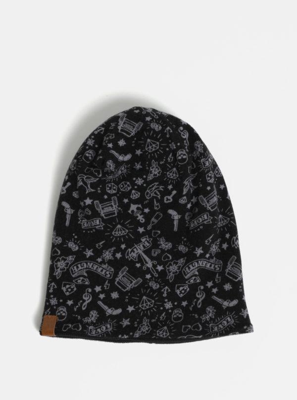 Čierna chlapčenská obojstranná čiapka Name it Miklas