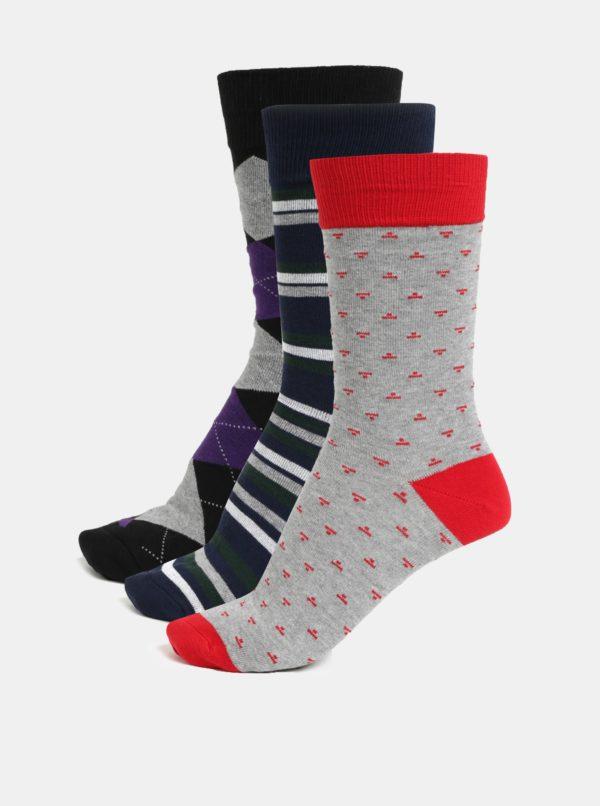 Súprava troch párov ponožiek v sivej a modrej farbe London Brogues