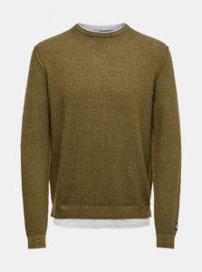 Hnedý tenký sveter so všitou časťou trička ONLY & SONS
