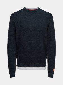 Tmavomodrý tenký sveter so všitou časťou trička ONLY & SONS