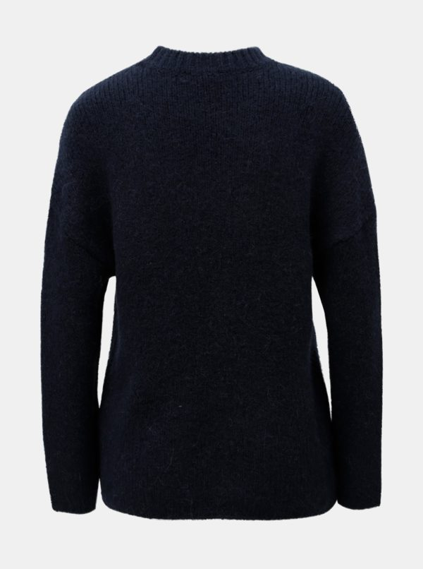 Modrý sveter s prímesou vlny Selected Femme Regina