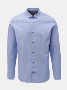 Modrá jemne vzorovaná slim fit košeľa Jack & Jones