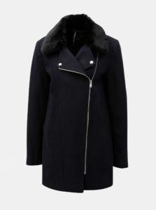 Tmavomodrý kabát s kožúškom Dorothy Perkins