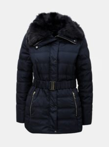 Tmavomodrá prešívaná bunda s umelou kožušinkou Dorothy Perkins