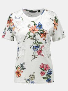Biele kvetované tričko s čipkovanými detailmi Dorothy Perkins