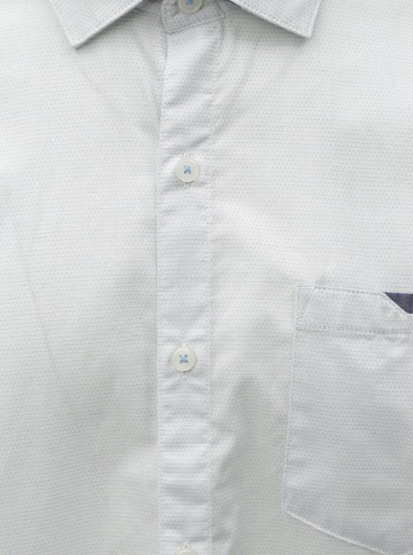 1817914026a1 Biela pánska bodkovaná regular fit košeľa s.Oliver