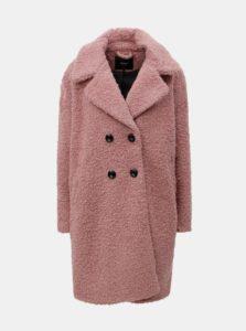 Ružový vlnený kabát s gombíkmi ONLY Paloma