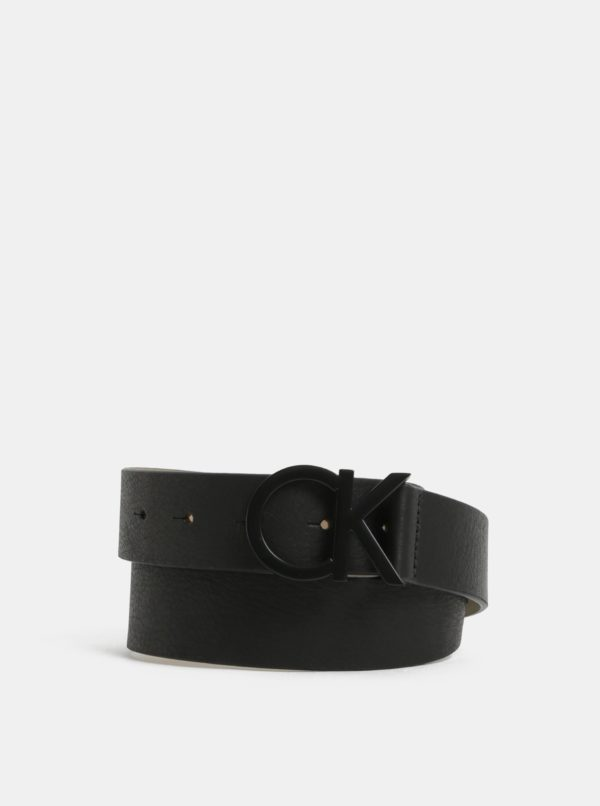 Čierny dámsky kožený opasok Calvin Klein Jeans