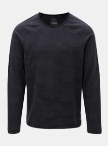 Sivo-modré pánske pruhované slim fit tričko s.Oliver