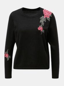 Čierny sveter s kvetovanou nášivkou ONLY Florida