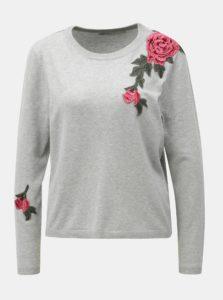 Svetlosivý melírovaný sveter s kvetovanou nášivkou ONLY Florida