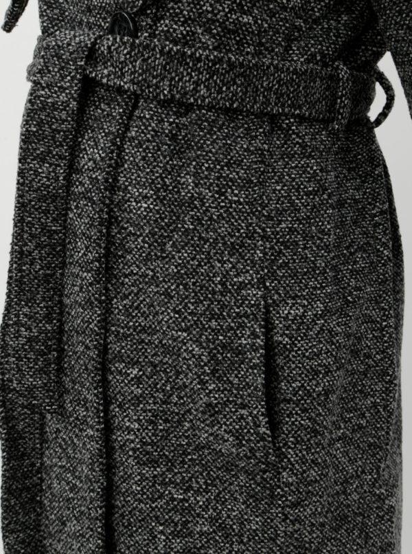 Sivý tehotenský kabát s golierom a opaskom Mama.licious