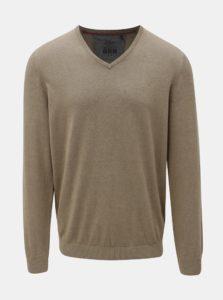 Béžový pánsky tenký sveter s véčkovým výstrihom s.Oliver