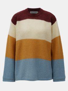 Krémovo-horrčicový dámsky pruhovaný vlnený sveter Kings of Indigo May