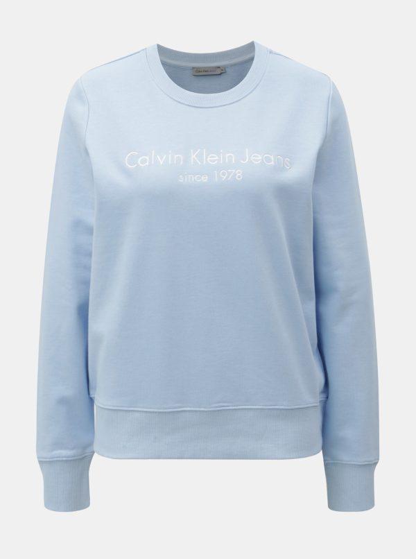 Modrá dámska mikina s výšivkou Calvin Klein Jeans