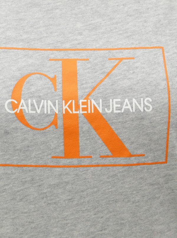 Sivé dámske melírované tričko s potlačou Calvin Klein Jeans