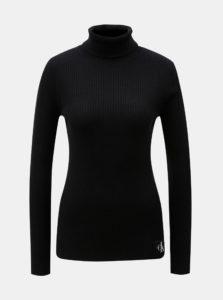 Čierny dámsky rolák s nášivkou a prímesou vlny Calvin Klein Jeans